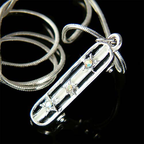 3D Cool Swarovski Crystal Star Skateboard Pendant Necklace