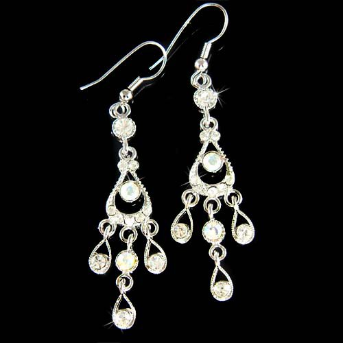 Clear Chandelier Bridal Wedding Party Swarovski Crystal Earrings