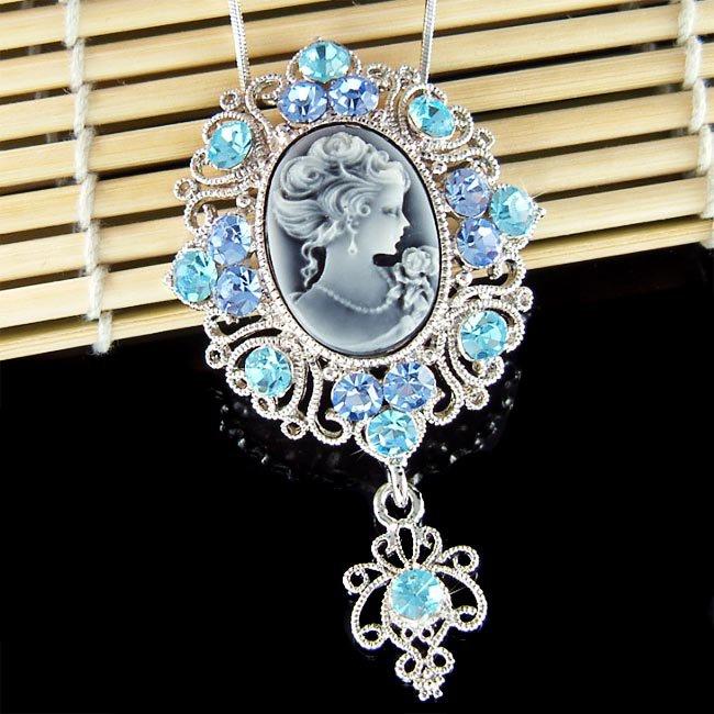 Big Blue Swarovski Crystal Victorian Cameo Pendant Necklace
