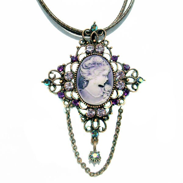 Big Antique Copper Purple Swarovski Crystal Cameo Cross Necklace