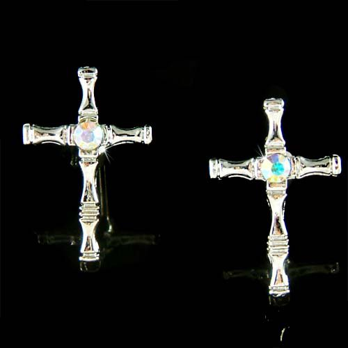 Swarovski Crystal Cross Jesus God Religious Love Post Earrings