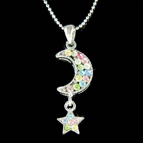 Rainbow Swarovski Crystal Crescent Moon Star Pendant Necklace