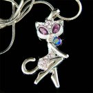 Swarovski Crystal Cute Purple Kitty Cat Kitten Pendant Necklace
