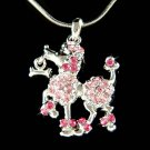 Swarovski Crystal Pink French Poodle Dog Bone Pendant Necklace