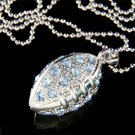 "Swarovski Crystal Blue American Football Pendant 30"" Necklace"