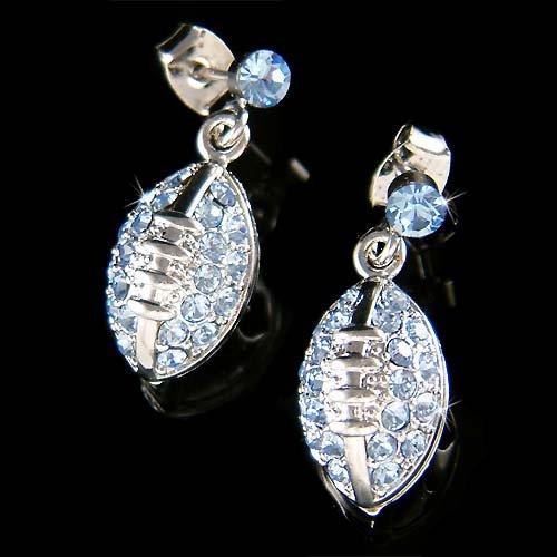 Swarovski Crystal Baby Blue American Football Gridiron Earrings