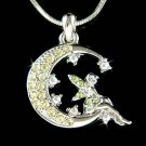 Swarovski Crystal Tinker bell Fairy Angel Moon Star Necklace