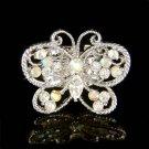 Swarovski Crystal Big Cutout Clear Butterfly Bridal Wedding Ring
