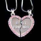 Swarovski Crystal Best Friend Engraved Heart 2 Chains Necklace