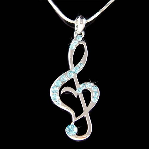 Swarovski Crystal Treble Clef Heart Music Note Pendant Necklace
