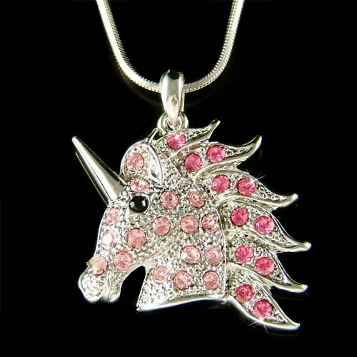 Swarovski Crystal Pink Unicorn Fairy Tale Horse Pendant Necklace