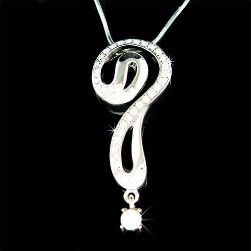 Swarovski Crystal Celebrity Clear Question Mark Pendant Necklace