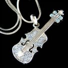 Swarovski Crystal Blue Violin Viola Cello Music Pendant Necklace
