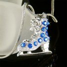 Swarovski Crystal 3D Blue Ice Skating Skate Shoe Hockey Necklace
