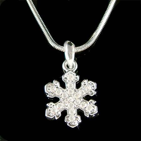 Swarovski Crystal White Snowflake Christmas Pendant Necklace New