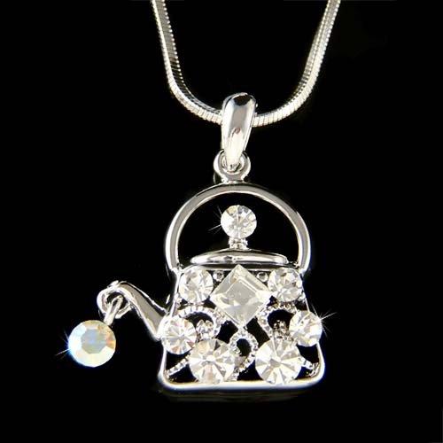 Swarovski Crystal Clear Teapot Tea Time Party Pendant Necklace