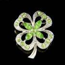 Swarovski Crystal St Patrick's Day Irish 4-Leaf Clover Brooch