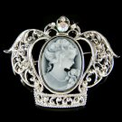 2 in 1 Swarovski Crystal Black Gothic Cameo Crown Pendant Brooch