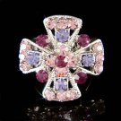 Swarovski Crystal Purple Christian Jesus Religious Cross Ring