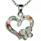 Swarovski Crystal Cut out Heart with Butterfly Pendant Necklace