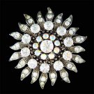 Swarovski Crystal Antique Look Sunburst Sun Flower Sash Brooch