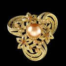 Swarovski Crystal Gold Celtic Flower Pearl Celts Bouquet Brooch