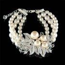 Swarovski Crystal Flower Pearl Brooch 3 Strand Row .925 Bracelet
