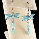 Cute Swarovski Crystal Aqua Blue Dragonfly Dangle Earrings