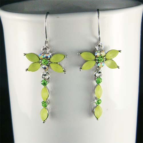 New Swarovski Crystal Spring Green Dragonfly Dangle Earrings