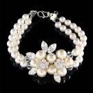 Swarovski Crystal Flower Pearl Brooch 2 Strand Row .925 Bracelet