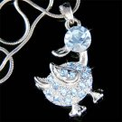 Blue Swarovski Crystal Goose Duck Ducky Duckie Pendant Necklace
