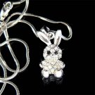 Cute Swarovski Crystal Easter Bunny Rabbit Hase Pendant Necklace