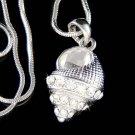Swarovski Crystal Beach Wedding Ocean Seashell Pendant Necklace