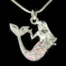 Swarovski Crystal Pink Sea Nymph Little Mermaid Pendant Necklace