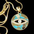 Swarovski Crystal Gold Circle Hamsa Hand Evil Eye Charm Necklace