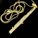 Swarovski Crystal Gold Woodwind Flute Music Instrument Necklace
