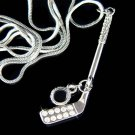 Swarovski Crystal Hockey Stick Black Puck Pendant Necklace Gift