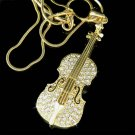 Swarovski Crystal Violin Viola Cello Musical Instrument Necklace