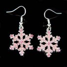 Swarovski Crystal Pink Snowflake Christmas Holiday Snow Earrings