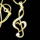 Swarovski Crystal Gold Heart Treble Clef Music Note Necklace New