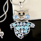 Blue Swarovski crystal Little Pig Piggy Piglet Pendant Necklace