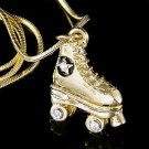 Swarovski Crystal 3D Roller Skate Skates Shoes Pendant Necklace