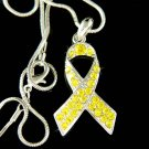 Swarovski Crystal Yellow Liver Bone Cancer Ribbon Charm Necklace