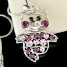 Purple Swarovski Crystal Cute Pig Piggy Piglet Pendant Necklace