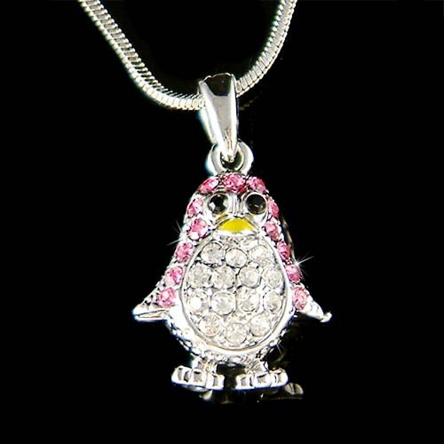 Swarovski Crystal Pink Baby Penguin Pendant Girls Chain Necklace