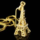 Gold Paris Swarovski Crystal Eiffel Tower Pendant Chain Necklace