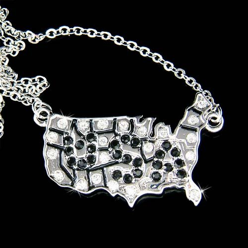 Swarovski Crystal America USA Map Souvenir Pendant Necklace New
