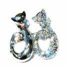 Clear Cat Animal Lovers Swarovski Crystal Pin Brooch