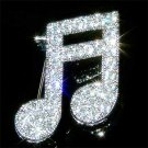 Swarovski Crystal Silver Sixteenth Music note Semiquaver Brooch