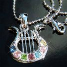 Rainbow Swarovski Crystal Harp Pendant Chain Necklace